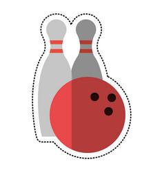 cartoon bowling ball pin sport vector image