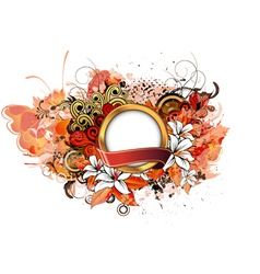 label with grunge floral vector image vector image