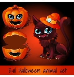 Open pumpkin and cat on a red background vector image