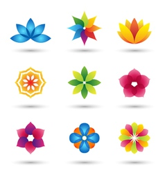 abstract flower logo and icons set vector image vector image