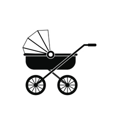 Baby carriage black simple icon vector image vector image