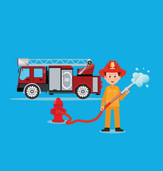fireman firefighter in uniform with water hose vector image vector image