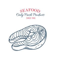 hand drawn salmon steak icon vector image vector image