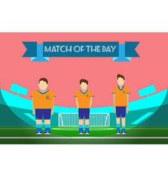 Three soccer players on football stadium vector image vector image