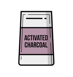 Activated charcoal bag vintage icon vector