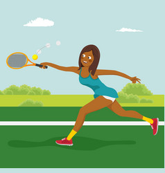 african american tennis girl on tennis court vector image