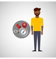 Afroameican man collection navigation elements vector