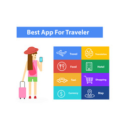 Apps for traveler infographic art vector