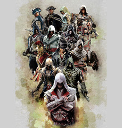 Assassins creed all characters vector