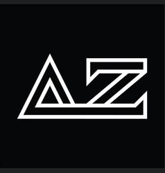 Az logo monogram with line style negative space vector