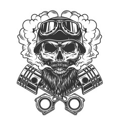 bearded and mustached biker skull vector image