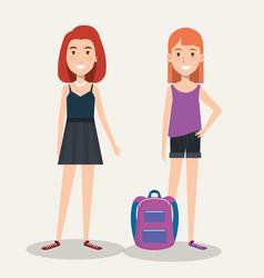 Beautiful schoolgirls with backpacks on white vector