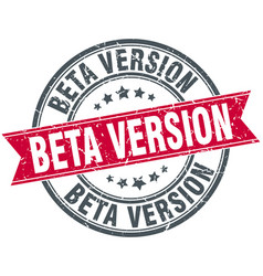 Beta version round grunge ribbon stamp vector