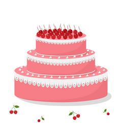 birthday cake with cherry vector image