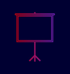 Blank projection screen line icon with vector