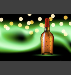 Bottle with dew on polar glow background vector