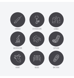 Broken foot lungs and syringe icons vector image
