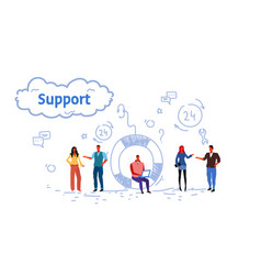 business people group technical team support vector image