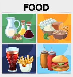 cartoon food square concept vector image