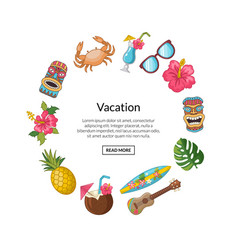 cartoon summer travel elements in circle vector image