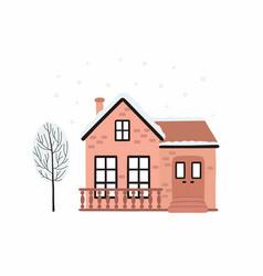 Cartoon winter house image a christmas vector