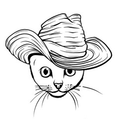 cat in a hat and tie white and black vector image