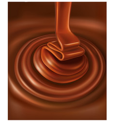 chocolate background swirl flowing chocolate candy vector image