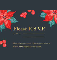 christmas invitation template with mistletoe vector image