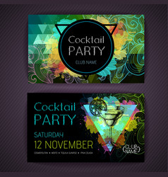 cocktail margarita on artistic polygon watercolor vector image