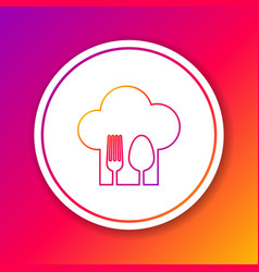 Color line chef hat with fork and spoon icon vector