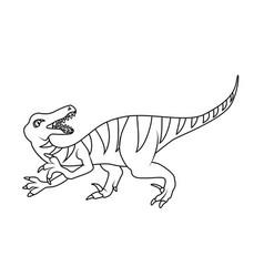 coloring book velociraptor dinosaur vector image