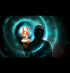 Computer hacker hood touches touchscreen vector