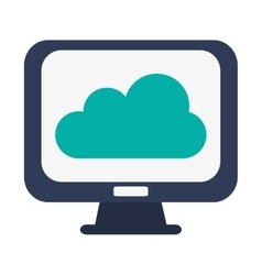 computer monitor and cloud vector image