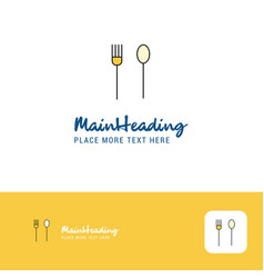 creative fork and spoon logo design flat color vector image