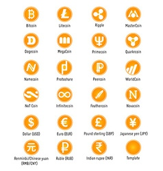 Cryptocurrency icons vector