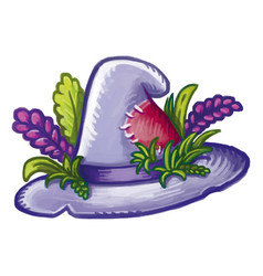 Cute cartoon hedgewitch magical hat decorated vector