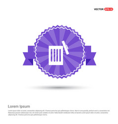 Delete icon - purple ribbon banner vector