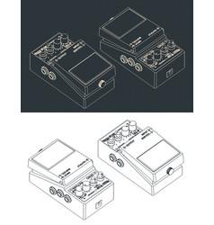 Distortion pedal isometric blueprints vector