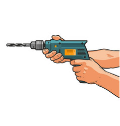 Drill in hand building repair housework vector