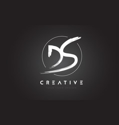 ds brush letter logo design artistic handwritten vector image