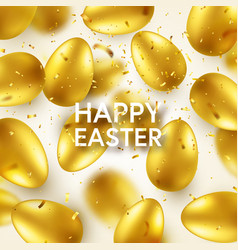 easter golden egg with confetti and calligraphic vector image