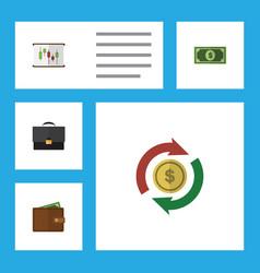 Flat icon finance set of portfolio billfold vector
