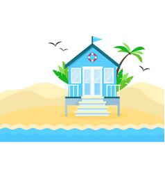 flat tropical beach hut vector image