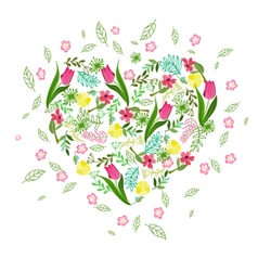 Floral background with herbs tulips and wild flowe vector