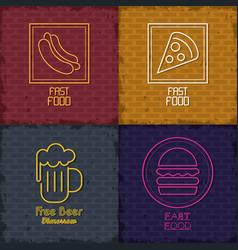 Food icons neon lights vector