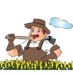 Gardener with a shovel vector
