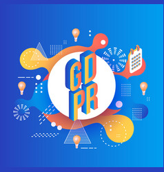 gdpr isometric text design on bright abstract vector image
