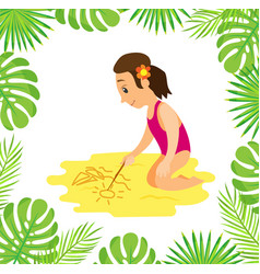 girl in swimsuit at beach drawing sailboat on sand vector image