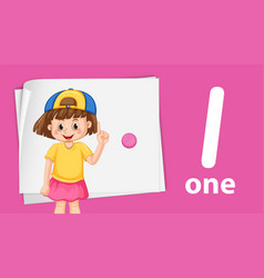 Girl with number one template vector