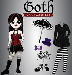 Goth Girl Character Set vector image vector image